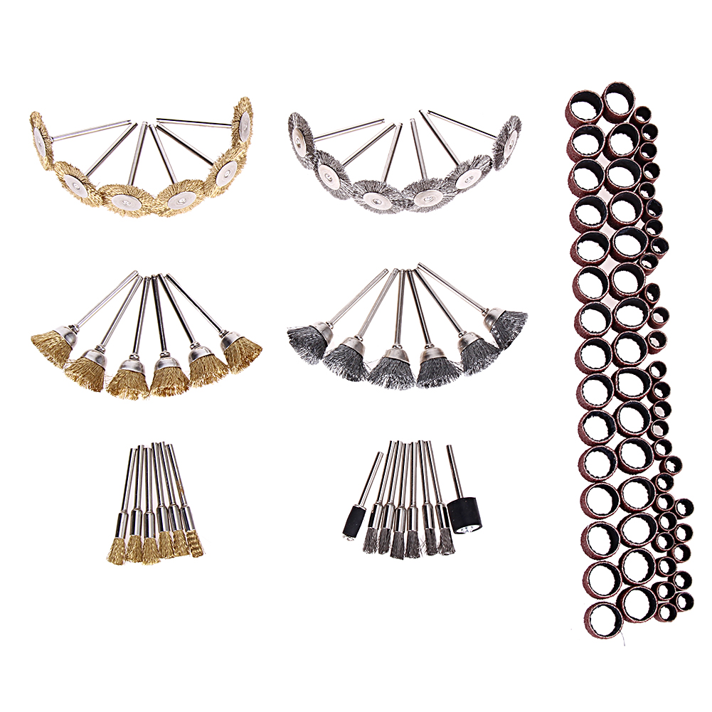 98Pcs Brass Steel Wire Brush Textile Polishing Wheels Full Set For Dremel, Proxxon Rotary Tools 1/8 (3mm) Shank Power Tool