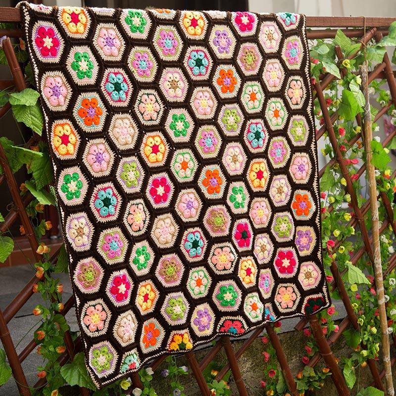 Barevné ruční háčky květiny bavlněné krajky elegantní náměstí háčkované deku / mnoho použití podložky podložky ubrusy / módní jedinečné dárky
