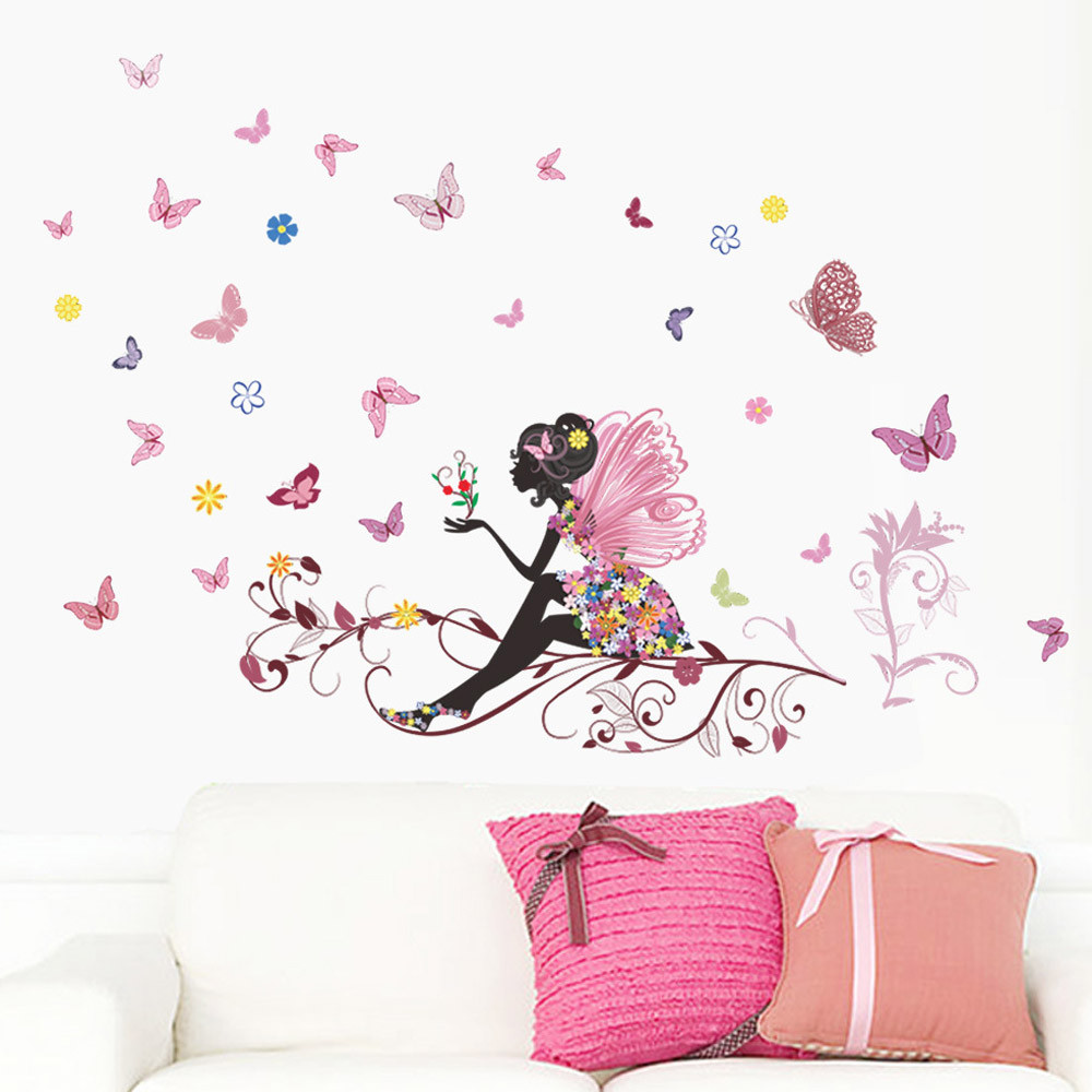 Flower Fairy pink colorful tree branch butterfly home decal wall sticker girl women bedroom diy kids room nursery party mural 79