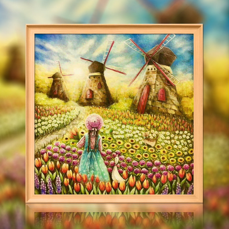 The Girl In The Flower Sea Cross Stitch Kit DMC Brand Thread Animal Dog Count Canvas Fabric Embroidery Handmade Needlework
