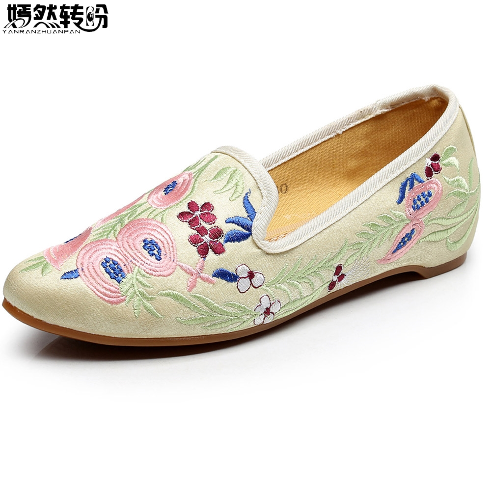 Chinese National Women Flats Shoes Vintage Embroidery Pointed Toe Comfort Slip-on Ballet Shoes Woman Soft Zapatos De Mujer pu pointed toe flats with eyelet strap
