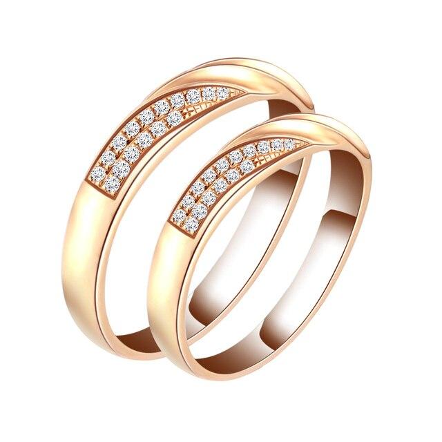 18K Gold Set Diamond Ring Couple Ring Roses Gold Wedding Ring