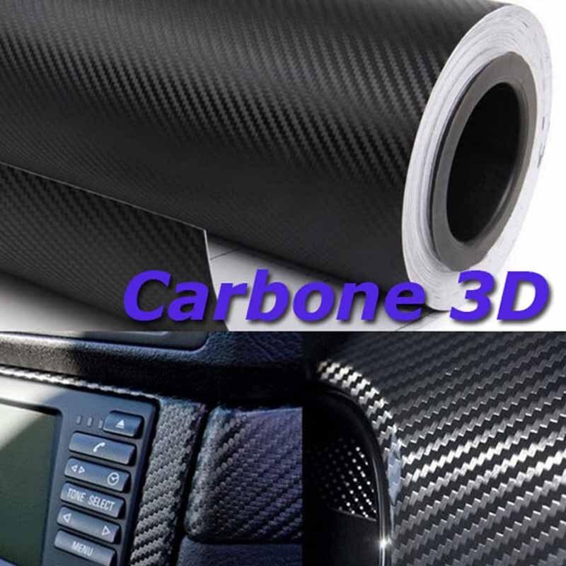 1 Roll 50x152cm Car Vinyl Foil Film Wrap 3D Carbon Fiber Style Sticker Decal Car-styling Interior Accessories merdia cfm001dx8 decorative 3d pvc carbon fiber film car wrap sticker silver 30 x 20cm