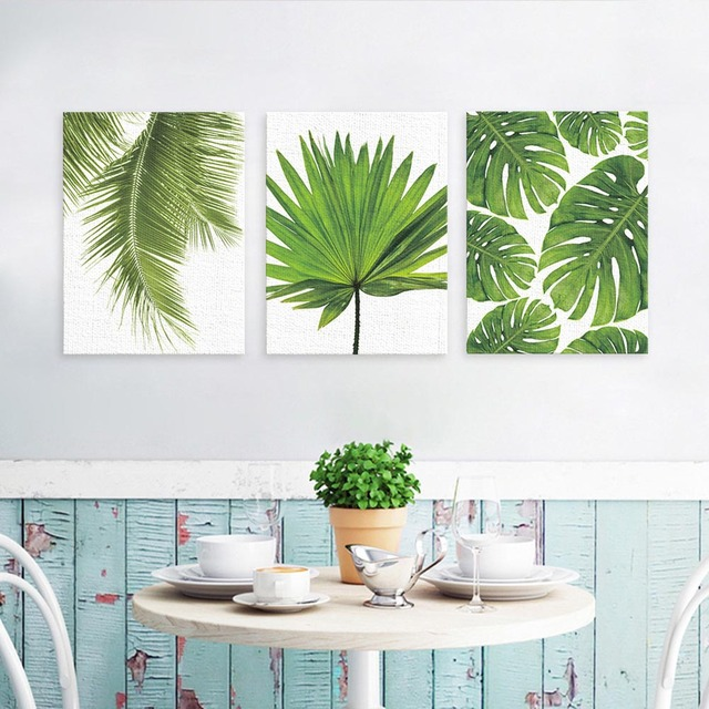 2018 Nordic Minimalista Tela Poster Verde piante Tropicali foglie di Palma di te