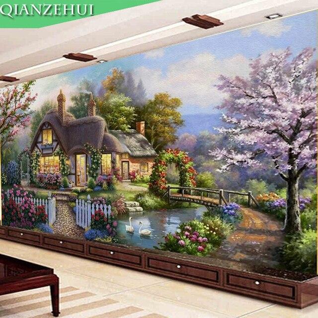 QIANZEHUI peinture paysage, couture bricolage même, point de croix, cabane de jardin rêve, point de croix, ensembles pour kit de broderie