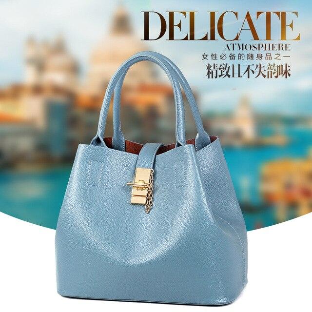 942454ae7c Women Bags 2018 New Leather Handbags Bucket Bag Elegant Fashion Trend  Shoulder Messenger Handbag Multifunction Combo Pack