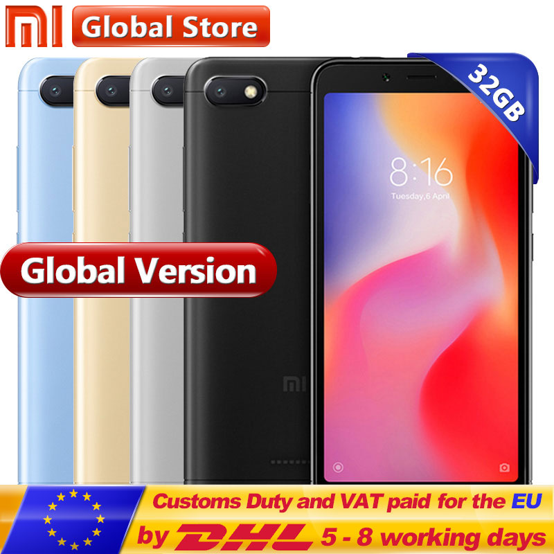 Global version Xiaomi Redmi 6A 6 A 2GB 32GB Mobile phone A22 Cell Phone 13.0 MP + 5.0MP 3000mAh 5.45 inch 1440*720