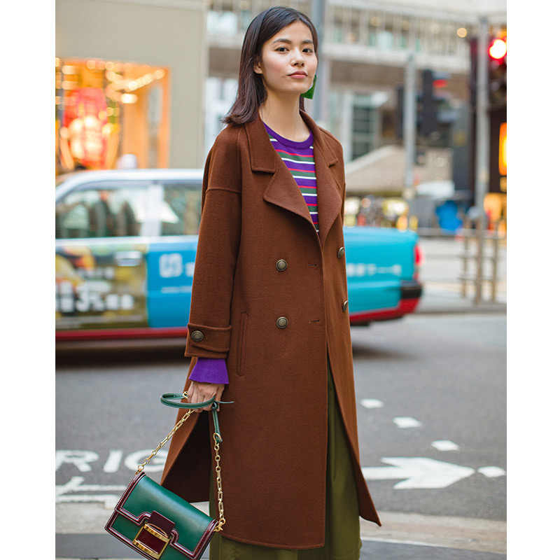 INMAN Unique Simple Design Women Office Style Loose Style Long Wool Trench Coat