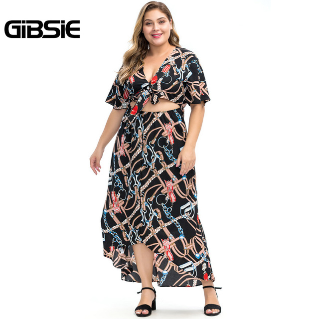 GIBSIE Plus Size Chain Print V-Neck Bow Front Cut Out Women Maxi Dresses 6XL 5XL 4XL Summer Beach Casual High Waist Dress 3