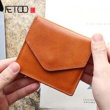 купить AETOO Tanning cowhide wallet Feminine leather handmade card bag men's envelope bag thin retro small wallet по цене 1588.55 рублей
