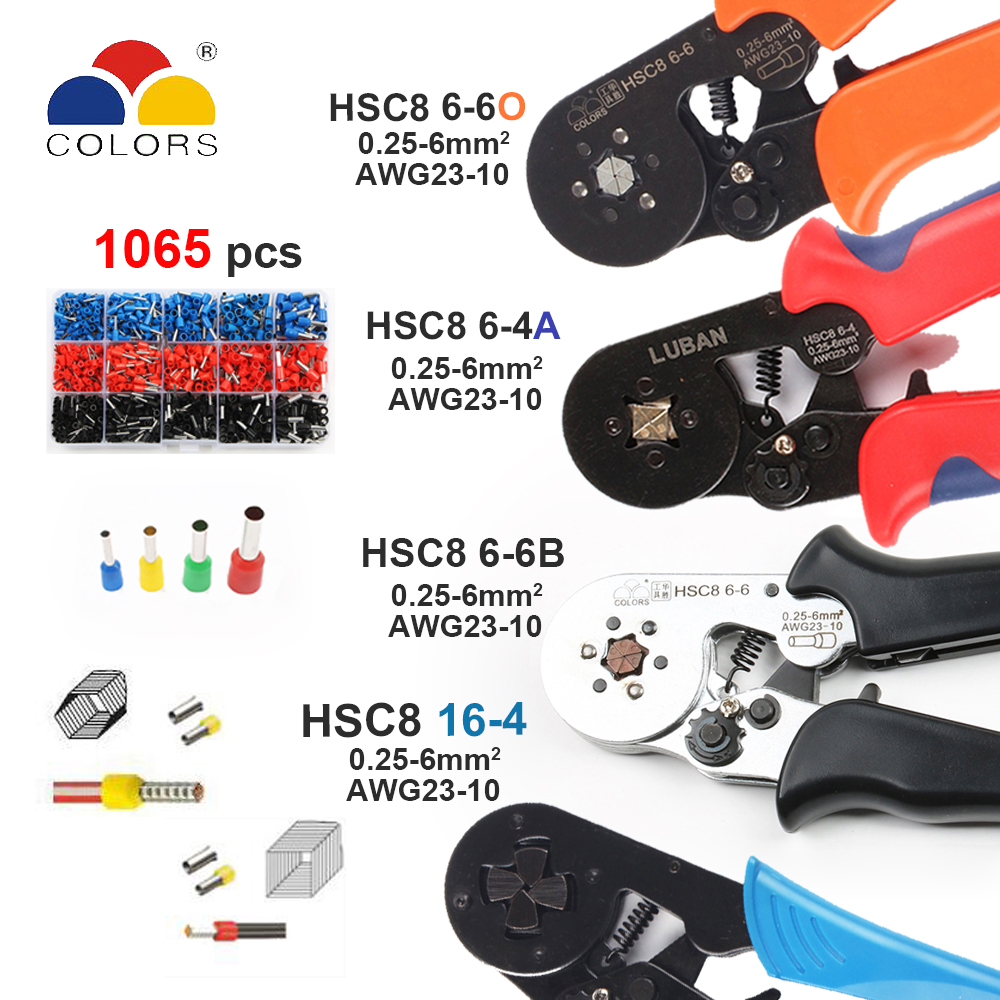 Tools HSC8 6-4 HSC8 6-6 SELF-ADJUSTABLE MINI-TYPE CRIMPING PLIER 0.25-6mm2 Pliers hand tools terminals все цены