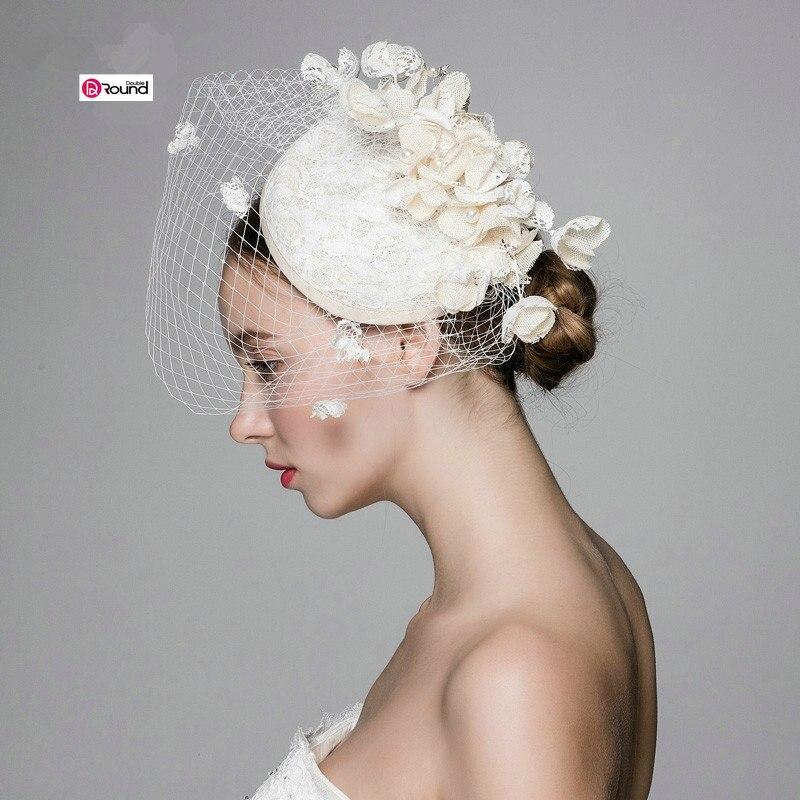 Ny Ankomst Skogstil Elegant Bomullslinne Blommor Grenadin Brudhatt / - Bröllopstillbehör - Foto 4