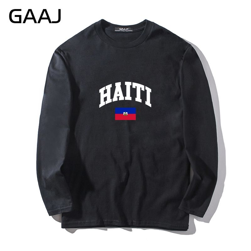 T Shirt Men Gaaj Haiti Flag Slim Fit Casual Man & Women Unisex Long Sleeve O-neck O Neck Tee Clothes Homme Casual Funny #e73j4 Finely Processed Tops & Tees