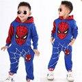 Новый Человек-Паук Дети Одежда Устанавливает Мальчики Человек-Паук Косплей Спортивный Костюм Дети Устанавливает 2 шт. top coat + брюки Мальчиков одежда