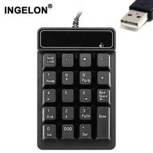 Ingelon USB клавиатура 19 клавиш цифровая клавиатура Механическая 5 миллионов раз keycap черная Водонепроницаемая мини-клавиатура для ПК ноутбука Note