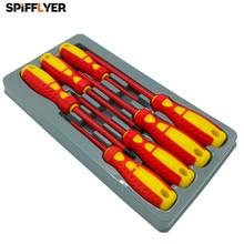 7 قطعة معزول مفك مجموعة CR V عالية الجهد 1000V المغناطيسي فيليبس مشقوق المفك دائم اليد أدوات