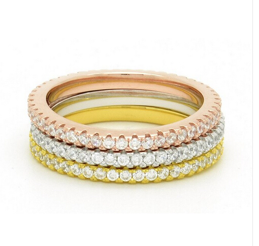 rose gold three color plating various size Micro pave AAA cubic zirconia 925 sterling silver Eternity band ring