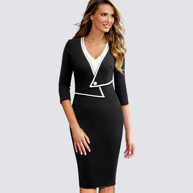 259655ac321 Women Casual Wear To Work Office Business Patchwork Bodycon Dress Elegant  Colorblock Contrast Sheath Fitted Autumn Dress HB413