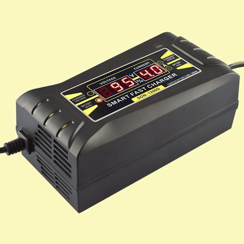 Professional Full Automatic font b Battery b font Charger Car 12V 6A EU Plug Smart Fast
