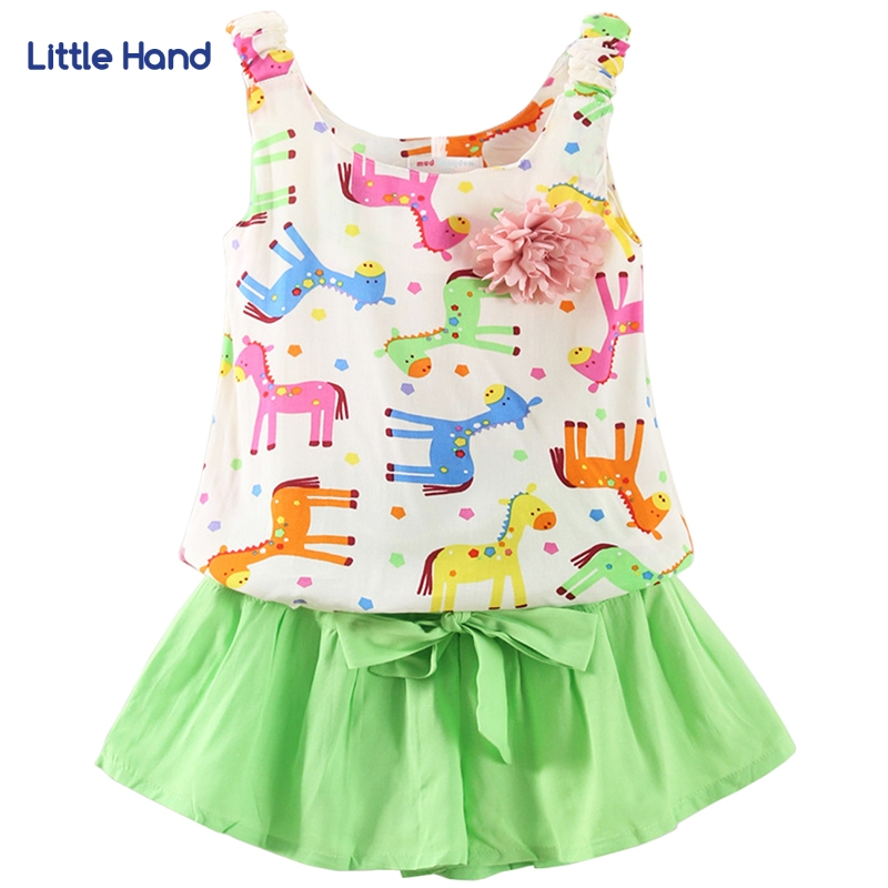 Girls Clothing Sleeveless T-shirt+Shorts 2Pcs Sets Pony Print Bow Tie ElasticCasual Vest Tops Girls Clothes O-Neck Kids Clothing flower sleeveless vest t shirt tops vest shorts pants outfit girl clothes set 2pcs baby children girls kids clothing bow knot