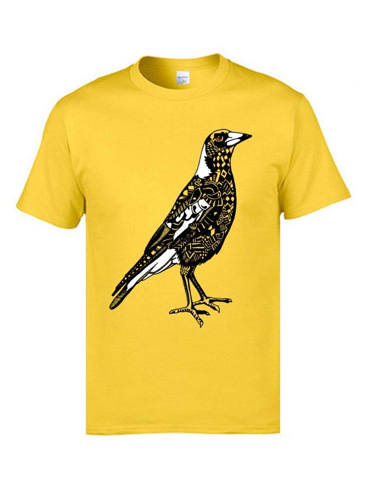 Tops Shirt Australian Magpie 8932 Tops Tees Summer/Fall Graphic Design Short Sleeve 100% Cotton Round Neck Men T-Shirt Design Australian Magpie 8932 yellow