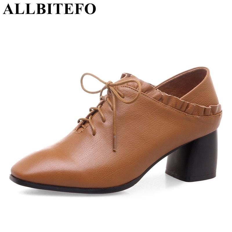 ALLBITEFO fashion retro genuine leather square toe high quality women pumps thick heel spring girls high heels high heel shoes women s genuine leather patchwork lace up pumps brand designer thick high heel spring autumn high quality punk shoes for women