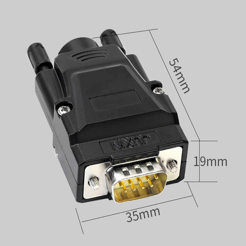 DB9 金属シェル伝送信号端子オスメスコネクタ RS232 シリアルポートヘッドフリーはんだ 9 ピン端子