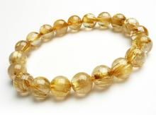 10mm Natural Brazil Gold Rutilated Quartz Crystal Titanium Woman Man Wealthy Round Beads Bracelet Jewelry Bangle AAAA