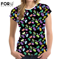 FORUDESIGNS Beauty Butterfly Women T Shirt Korean Style Comfort Tee Shirt For Ladies Brand Designer 3D