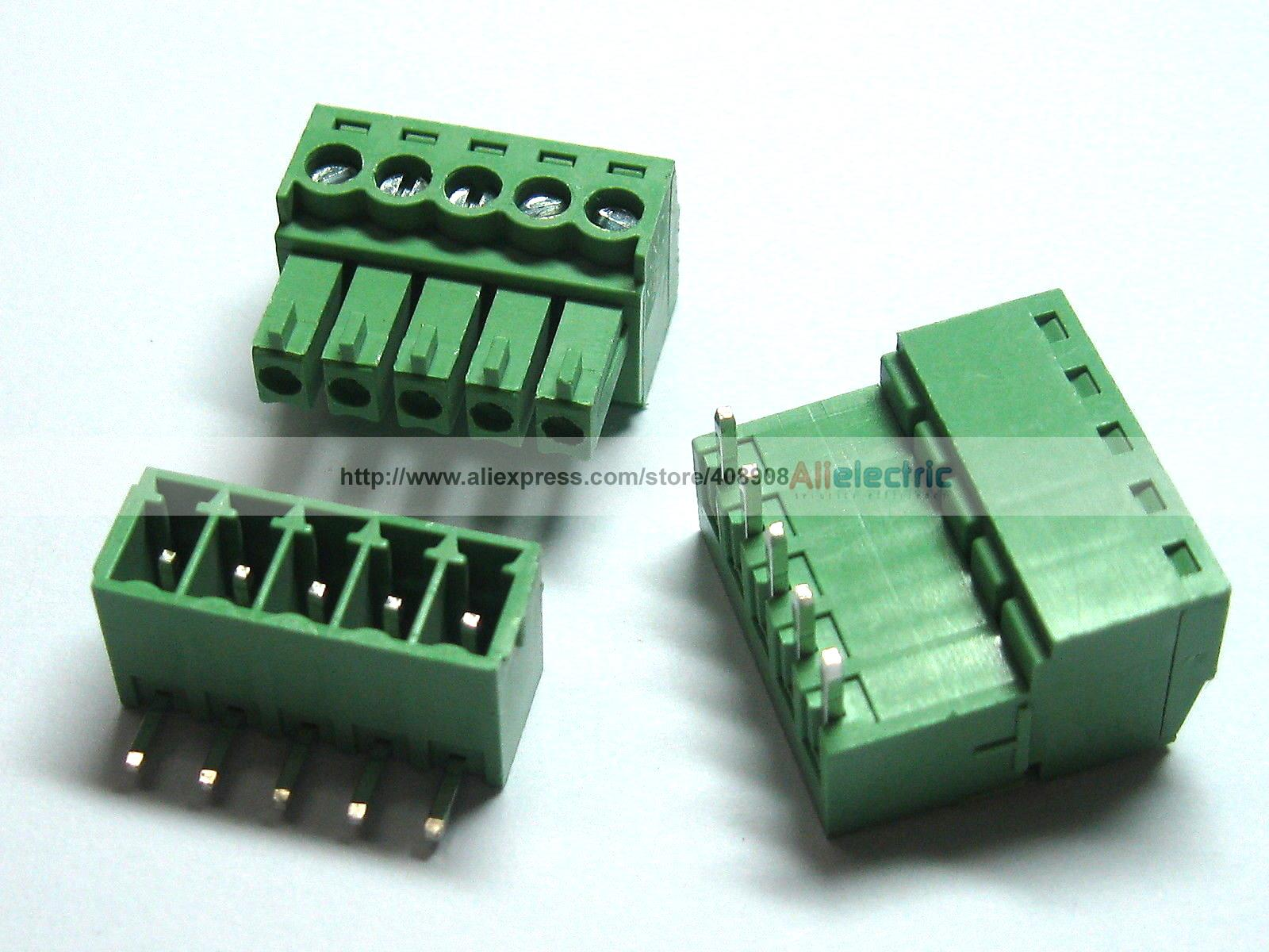 где купить 200 Pcs/lot Screw Terminal Block Connector 3.5mm Angle 5 Pin Green Pluggable Type дешево