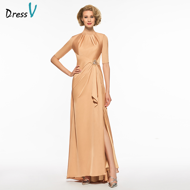 Dressv scoop neck mermaid mother of bride dress half sleeves floor length zipper up trum ...