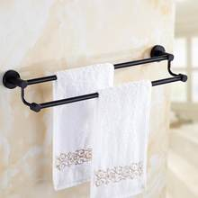 Double Rods Towel Rack Wall Mounted Bar Holder Hook Organizer for towels Home Kitchen Bathroom Towel Hanging Holder Storage Rack(China)