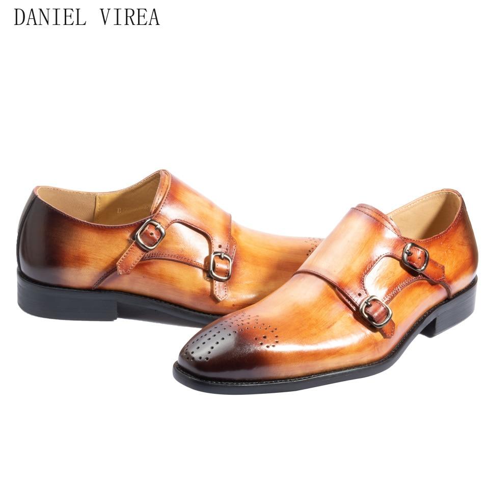 f10aa791b Comprar Sapatos Masculino Social Bico Fino Couro Dupla Fivela Feitas ...