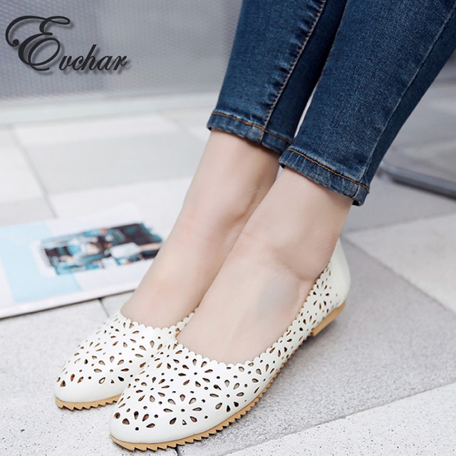 New Women's  Fashion spring/autumn Shoes Women's Comfortable Breathable Round Toe Flat Heel Casual Cut-Outs Shoes Size 33-47