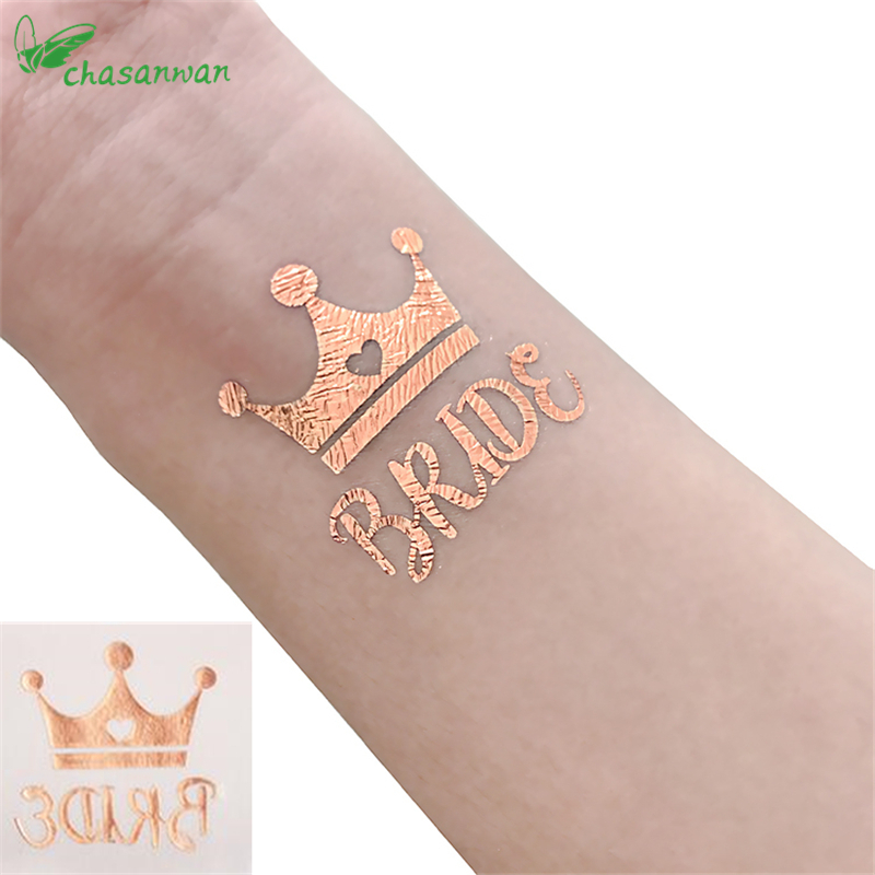 5Pcs Rose Gold Team Bride Tattoo Stickers Wedding Favors