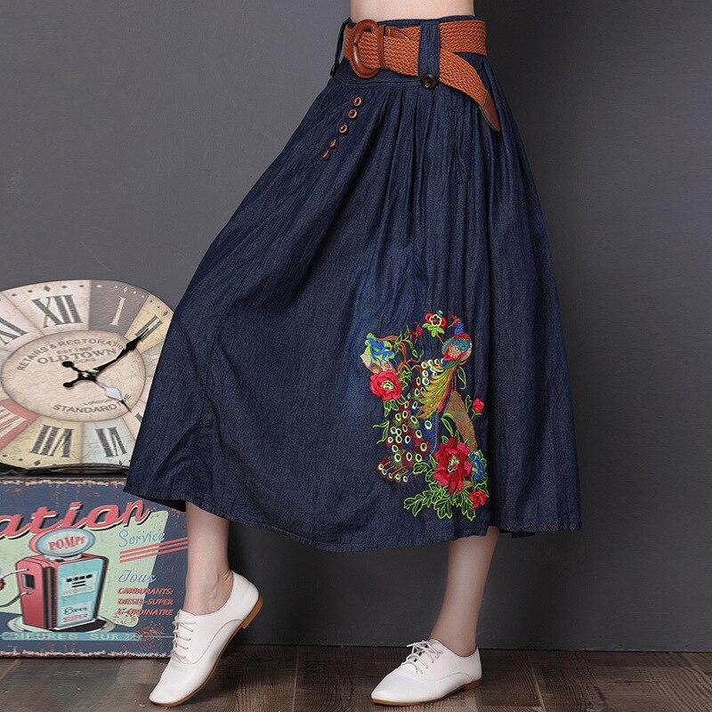 3XL 4XL 5XL jupe femme broderie grande taille cheville longueur longue mince jupe en jean avec ceinture - 3