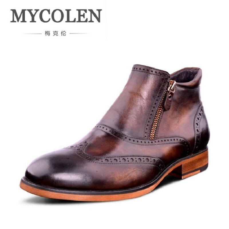 MYCOLEN Men Ankle Boots Autumn Footwear Genuine Leather Mens Shoes Zipper Casual Business Carved Hollow Boots Brown Botte Moto brown men ankle boots spring autumn genuine leather cowboy boots pointed toe lace up mens military boots safety shoes footwear