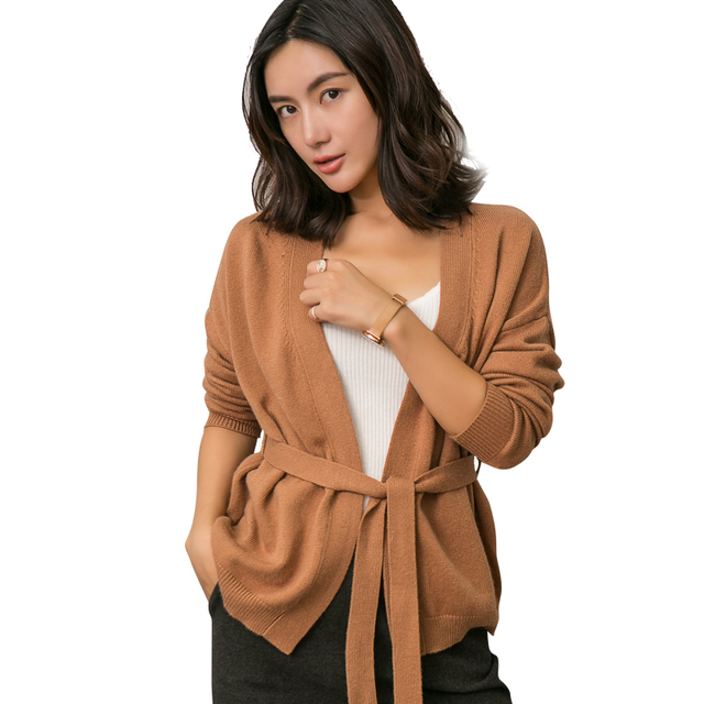 bf88802d17 US $38.71 49% OFF|Aliexpress.com : Buy Women Sweaters 100% Cashmere and  Wool Knitting Jackets Winter New Arrival Thick Vneck Sashes Cardigans Woman  ...
