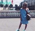 Taovk 2016 nova moda russa estilo mulheres vestidos de slash dress com cinto botão azul sem mangas babados dress