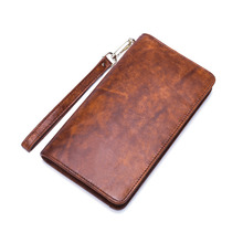 Simple Genuine Leather men wallets fashion business smooth clutches and elegant oil waxes womens purses