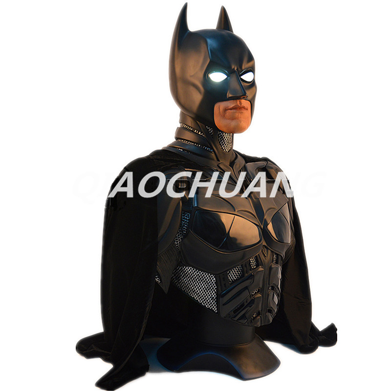 Batman v Superman: Dawn of Justice Statue 1:1 LIFE SIZE Batman Bust The Dark Knight Bruce Wayne Head Portrait With LED Light sending rope rooster mascot guard natural obsidian statue of the buddha real life