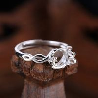 925 Sterling Silver Semi Mount Engagement Ring Setting for 7mm Pearl or Round Bead Adjustable/Open Fine Jewelry
