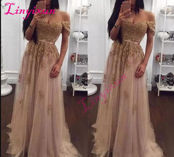 Champagne 2018   Prom     Dresses   Long Off the Shoulder Tulle Evening   Dresses   A-Line Floor Length Formal Party Gowns Cheap