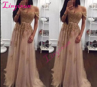 Champagne 2018 Prom Dresses Long Off the Shoulder Tulle Evening Dresses A Line Floor Length Formal Party Gowns Cheap