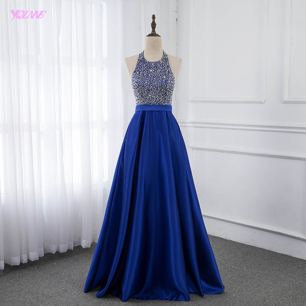 Royal Blue Long Backless   Prom     Dresses   Halter Crystals Beaded Satin Formal Party   Dress   YQLNNE