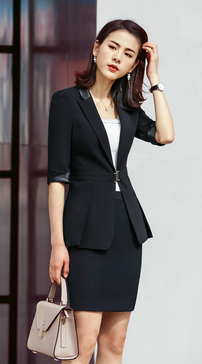 Styles D'affaires Et Noir Ol La Costumes blanc 2019 Dames Travail De Veste Uniformes Ensembles Vêtements Femmes Nouveau Blanc Jupe Blazer Avec fAwqYU