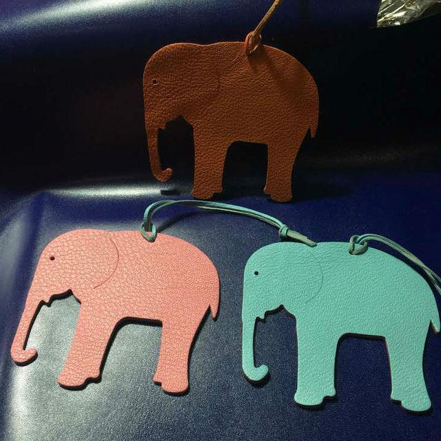 Custom Made Handmade Genuine Leather Lucky Elephant Keychain Animal Key Chain Women Bag Charm Pendant Accessories For Friends
