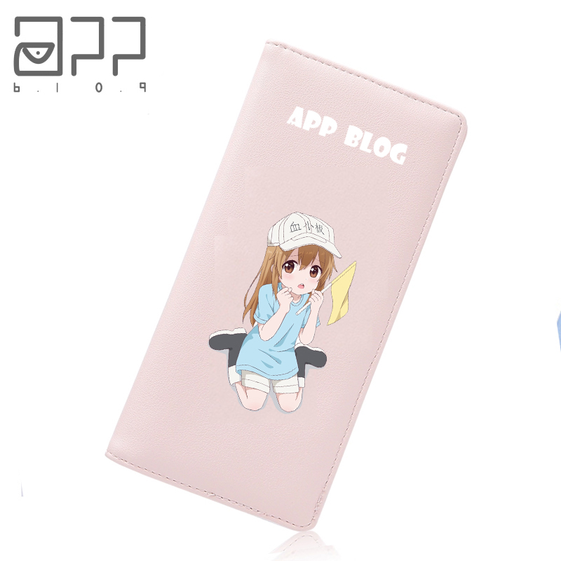 APP BLOG Anime Hataraku Saibou Cells At Work Cute Long Wallet For Women Student Teenager Kid Girl Gift Friend Clutch Mini Purse app blog brand custom made unique personality women s purse 2017 newest long fashion phone bags clutch leather wallet as gift