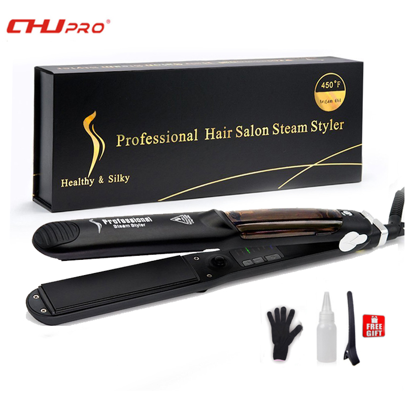 CHJ Ceramic Steam Hair Straightener Chapinha Professional Flat Iron Argan Oil Steam Straightening Iron Vapor Hair Iron Steamer chj professional steam hair straightener brush ceramic flat iron vapor chapinha electric steam hair straightener comb hair irons