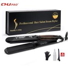 Chj steampod alisador de cabelo profissional, vapor alisador de vapor chapinha cerâmica alisador de cabelo